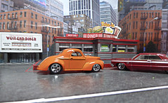 Custom Night At The West End Diner. (ManOfYorkshire) Tags: hotwheels 164 scale diecasts toys models diecast willys coupe 1941 chevrolet impala orange red diner westenddiner diorama drivein city cityscape