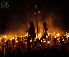 Fire and Vikings (Ok More Photos) Tags: yellow fire people boat travel night light europe uk black scotland party crowd festival burning viking burn luz contraluz chief traditional tradition contrejour torch shetland vikings up helly aa lerwick jarl naturallight