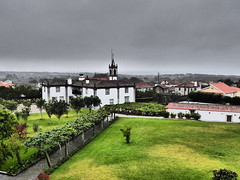 Quinta do Monteverde, Castelo do Neiva (cyclingshepherd) Tags: 2016 august portugal norte monteverde hotel grounds house casa atlantic seaview neiva viana church chapel spire lawn grass santiago drizzle trees cloud clouds view landscape quinta quintadomonteverde