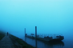 without your love (A.Ciepielewska) Tags: vehicle polska poland sky blue outdoor river water fog foggy people canon canon600d lubelskie nature natura polishphoto photography photograph landscape boat outside