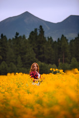 Summertime in Flagstaff (StephanieGreerPhotography.com) Tags: flagstaff canon girl woman flowers wildflowers ginger redhead redhair mountains coconino northernarizona yellow orange nature pretty beauty beautiful sunset goldenhour backlight arizona canoneos3dmarkiii summer flower field meadow people outdoors plaid bokeh dslr stephaniegreer canonef70200mmf28lisii color colorful coreopsis naturallight portrait peaks sanfranciscopeaks mthumphries depthoffield warm warmth