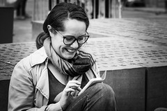 Smile connected... (Periades) Tags: bw blackandwhite blackwhite candid connected fille femme girl glasses human lunettes nb noiretblanc photoderue rue streetphotography street steethuman smile sourire woman