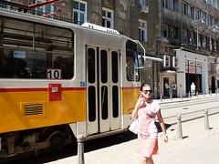 Sofia street (franz_brocchi) Tags: fujixseries fujifilmx20 street sofia bulgaria   urban tram woman pink