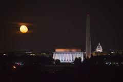 Full Moon (A B Pan) Tags: fullmoon washingtondc washingtonmonument lincolnmemorial capitol night skyline