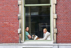 The Day Happiness Returned (kirstiecat) Tags: utrecht dutch dog couple together netherlands window people strangers beautifulstrangers happy happiness joy wonder surprise excitement reflections street canon canine emotions