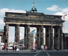Germany.  June 12th.-20th. 1999 (Cynthia of Harborough) Tags: 1999 architecture arches art buses cars gateways people streets tricycles