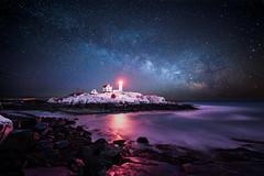 Winter Nubble Light (moe chen) Tags: ocean park york lighthouse color rock night way island star long exposure maine wave atlantic cape milky beacon neddick nubble sohler