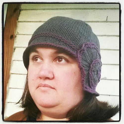 Trying on my new #knitted hat.
