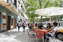 AFS-120346 (Alex Segre) Tags: madrid street city people bar outside outdoors restaurant calle spain bars europe european sitting exterior outdoor capital young cities restaurants scene spanish tables seating adults scenes lavapies argumosa alexsegre