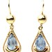 1014. Pair of Gold and Blue Topaz Earpendants