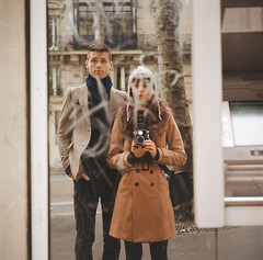 (Džesika Devic) Tags: street camera boy selfportrait paris france reflection love film girl self vintage mediumformat fur photography mirror couple photographer 120format photograph squareformat 120mm yashicaa filmphotograph devicfotos dzesikadevic