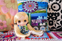 Alice models the new Modflowers cushion