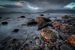 Acadia Beach (Alan Drake) Tags: ocean longexposure blue light sunset sea sky canada mountains colour beach water clouds digital landscape sand nikon rocks exposure dusk britishcolumbia d7000