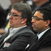 Miles Wright, left, and Raj Narayan listen during the afternoon session.