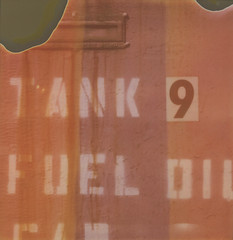 TANK 9 FUEL OIL (abdukted1456) Tags: ny newyork polaroid sx70 stencil tank letters rusty 600 integral oil expired fuel model2 expiredfilm landcamera kinderhook ndfilter instantfilm valatie writeon 600wo