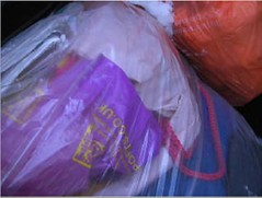 snowyjdbags4 (muckyclothes) Tags: christmas trash garbage plastic rubbish bags jd dustbin clearout