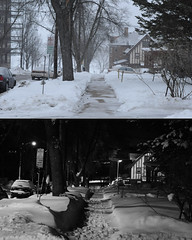 064/365 (local paparazzi (isthmusportrait.com)) Tags: street windows winter two blackandwhite bw white house snow black cold cars texture night contrast buildings walking prime iso200 pod lowlight streetlight diptych downtown day apartment artistic no parking snowstorm creative footprints before sidewalk artsy walkway handheld after chilly manual madisonwi snowfall blizzard bushes showerhead lakemendota autofocus isthmus jamesmadisonpark 2hourparking 2013 365project nikond90 danecountywisconsin photoshopelements7 pse7 50mm14g localpaparazzi redskyrocketman lopaps 67inches