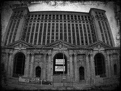Michigan Central Station (falseverdict) Tags: city urban bw building abandoned architecture michigan detroit wideangle artdeco mcs rebuild 2012 iphone urbex corktown motorcity michigancentralstation iphoneography iphone4s olloclip laurenpaljusaj