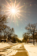 Winter Warmth (cec403) Tags: street blue trees winter sky sun snow canada mountains rockies gold town empty sparkle alberta flare sunburst waterton watertonlakesnationalpark canont4i