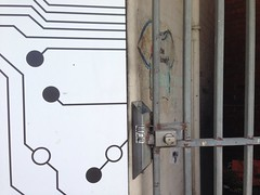 Digital & Analogue. (s2art) Tags: window shop wall facade fence phonecam gate commerce lofi australia melbourne victoria iphone pc3011 auspctagged rrl pctagged iphone5 footscraystation digitalanalogue footscraypc3011 auspctaggedpc3011 uploaded:by=flickrmobile flickriosapp:filter=nofilter