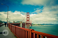 Speed Checked by Radar (sdmix) Tags: california bridge red sea sky people usa water car clouds fence river lights us gate san francisco traffic suspension united engineering cables barrier states footpath walkers radar goden