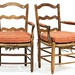 56. Pair of Antique French Provincial Ladderback Fauteuils