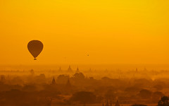 Hot air ballon flying over Old Bagan (/mv) Tags: life sunrise yangon burma hotairballoon myanmar february mandalay bagan  burmesedays  oldbagan