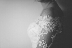 . (joannablu kitchener) Tags: wedding red bride scotland blackwhite edinburgh lace weddingdress preparations