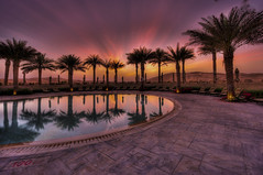 Qasr Al Sarab Desert Resort (Swissrock) Tags: sunset pool photoshop palms hotel march nikon desert uae dream emirates abudhabi bluehour arabian hdr lightroom tonemapping liwadesert 2013 potomatix d700 1424mm andykobel qasralsarabdesertresort