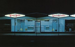 King Koin Launderette, Kelowna BC (SwellMap) Tags: street night vintage dark advertising marquee evening design pc 60s neon fifties postcard suburbia style kitsch retro nostalgia chrome 1950s postcards americana 50s 1960s roadside googie populuxe sixties babyboomer consumer coldwar midcentury spaceage atomicage