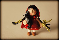 Little Red Riding Hood (strangewoodart) Tags: sculpture art work woodland paper doll fairytales airdryclay