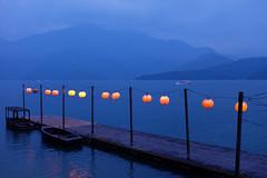 Red Lantern Pier (lhongchou's photography) Tags: lake taiwan 南投 finepix fujifilm 日月潭 sunmoonlake nantou x100