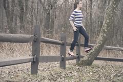 101 (m.clemm) Tags: park portrait woman selfportrait tree girl forest self fence climb woods stripes climbing heels 365 selfie redheels magicshoes