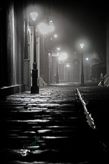 Pirates Alley EXPLORE Apr 13, 2013 #102 (Dr_Fu_Manchu) Tags: new bw white mist black lamp rain st fog stone square french louis alley orleans moody post cathedral pirates foggy jackson cobble cobblestone quarter vieux carre thechallengefactory