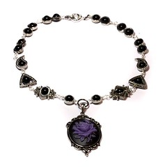 Steampunk Goth Jewelry - Necklace - Black and Purple Rose Cameo - Black Onyx (Catherinette Rings Steampunk) Tags: