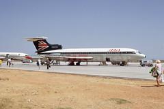 Trident at Faro, Portugal, June 1971 (piktaker) Tags: portugal faro bea jet algarve fao dehavilland jetairliner hawkersiddeley britisheuropeanairways lpfr faroairport hs121 passengerairliner trident2e gavfk