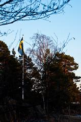 flag of Sweden (Mange J) Tags: sky tree evening spring pentax sweden handheld sverige vnern hammar vrmland tamron70300 skoghall lakevnern pentaxk7 tamronaf703004056dimacro lillngshamnen magnusjakobsson