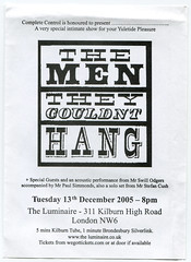 The Men They Couldn't Hang, Luminaire (Kilburn), Dec 2005, 12 (marukomu) Tags: tickets concert folk gigs memorabilia kilburn luminaire mentheycouldnthang tmtch mtch