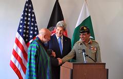 Secretary Kerry Looks on as Afghan President Karzai and Pakistani Chief of Army Staff General Kayani Shake Hands (U.S. Department of State) Tags: pakistan brussels afghanistan belgium johnkerry hamidkarzai ashfaqkayani
