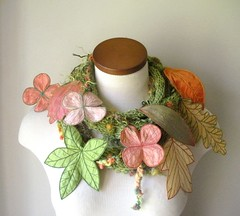 Long and Leafy Scarf- Tweedy Spring Green with Embroidered Leaves of Peach, Light Yellow, and Apple Green (Betsie Withey) Tags: green knitting crochet peach salmon wearableart etsy freemotionembroidery textileart springcolors fiberartscarf embroideredleaves betsiewithey
