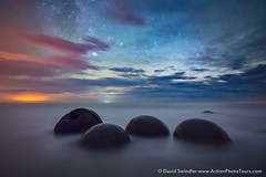 Moeraki at Night (David Swindler (ActionPhotoTours.com)) Tags: longexposure newzealand night stars nightscape southisland moerakiboulders moeraki hightide