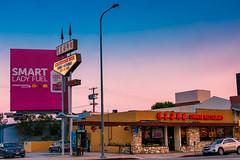 California Wok/Smart Lady Fuel (clif_burns) Tags: billboards california chineserestaurants losangeles restaurants signs streetphotography sunset wilshireboulevard
