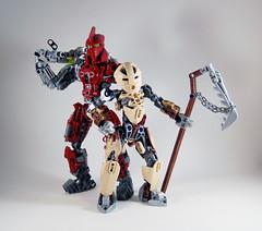 MOV - Banserko and M'azzal (0nuku) Tags: bionicle lego toa sand fire stone banserko mazzal scythe gunblade hau komau