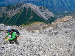 Mt Hood Summit Scramble - Ben with the ascent gully below (benlarhome) Tags: kananaskis alberta canada mounthood mthood trail trek scramble scrambling path rockies rockymountain mountain gebirge montagne gipfel summit peak