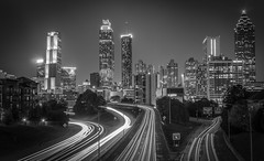 Atlanta skyline from Jackson St Bridge (tshabazzphotography) Tags: blackandwhite bw atlanta georgia leadinglines lightstreams lights buildings cityscape vignette longshutterspeed longexposurephotography canon canont5i canonphotography urbanlandscape adventure