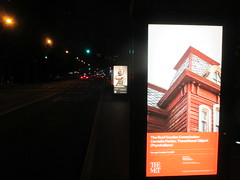 Metropolitan Museum of Art Sidewalk Billboard Ads 5030 (Brechtbug) Tags: metropolitan museum art roof garden new york city outdoor exhibit 2016 season british artist cornelia parker work named transitional object psychobarn replica bates house alfred hitchcocks 1960 horror film psycho inspired by edward hopper 1925 painting railroad covered reclaimed wood which comes from an actual barn nyc 09102016 addams family mansion charles chas halloween central park skyline spooky spook top