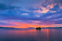 sunset 6939 (junjiaoyama) Tags: japan sunset sky light sun cloud weather landscape contrast colour lake island blue red bluemoment bluehour