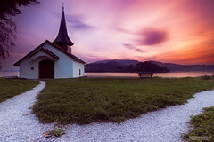 Chapelle (Emotions-photo.ch) Tags: lake sunset water religion chapel church night sun light old architecture way path summer colors art long exposure herb hauteville switzerland gruyre landscape