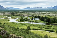 Thingvellir Iceland (Einar Schioth) Tags: thingvellir ingvellir sky summer day canon clouds cloud mountains mountain river houses church landscape lake photo picture outdoor iceland sland einarschioth