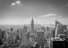 New York 2016 Top Of The Rocks, Rockefeller Center, looking at Empire State Building (Wim1978) Tags: newyork blackandwhite empirestate topoftherock rockefeller